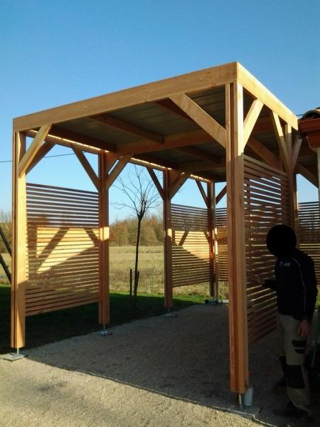 structure toit plat pour camping car couverture bac acier coté en claire voie