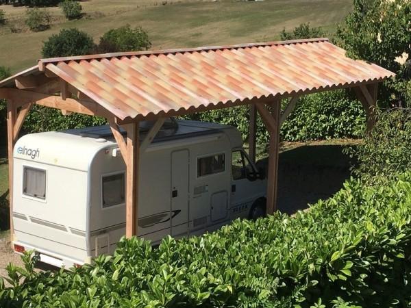 structure 2 pentes pour camping car couverture en plaque sous tuiles
